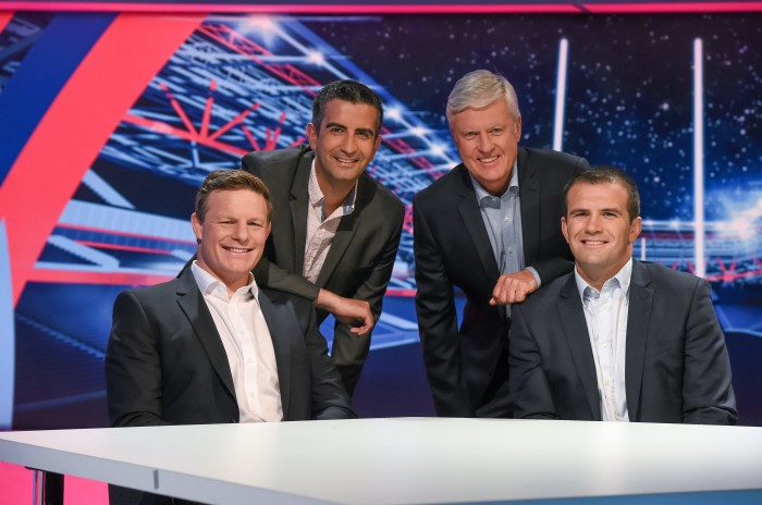 16 September 2015; With just hours to go until the biggest sporting event this year gets underway, TV3 today unveiled its RWC 2015 set. All 48 games will be Live and Exclusive on TV3 and 3e. Pictured on the RWC 2015 set is TV3 RWC 2015 presenter Tommy Martin, second from left, with panelists, from left, Malcolm O'Kelly, Shane Jennings and Matt Williams. TV3 HD Studio, Ballymount, Dublin. Picture credit: Stephen McCarthy / SPORTSFILE *** NO REPRODUCTION FEE ***
