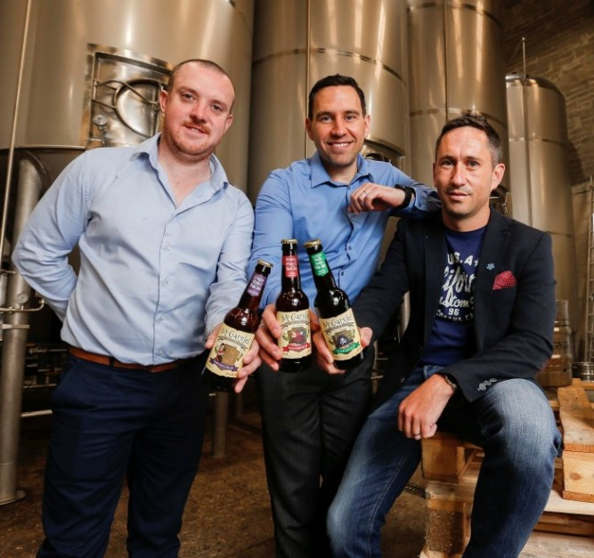 Today Love Irish Food announced the winner of the Brand Development Award, pictured are Alan Wolfe, Niall Phelan and Tom Cronin from the Rye River Brewing Company