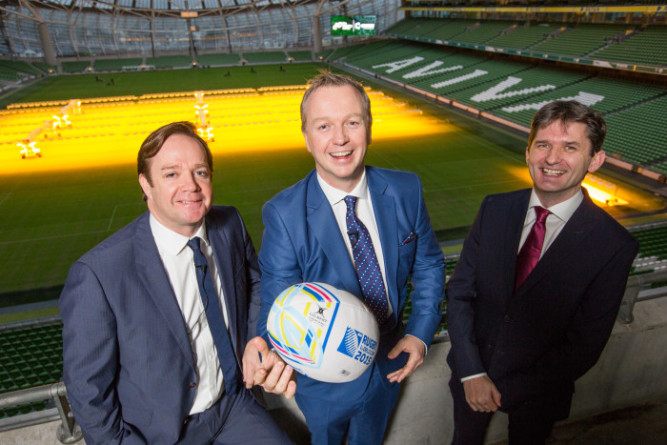 No Repro fee 26-11-2015 Picture shows from left Pat Kiely, Group Commercial Director, TV3; Matt Cooper, journalist and Rugby World Cup television presenter and John Trainor, CEO of Onside at a a post Rugby World Cup briefing of Ireland's top marketers where sponsorship intelligence consultants Onside, in partnership with the Marketing Institute of Ireland revealed research analysing the effectiveness of Sponsorship in RWC 2015 entitled: 'WHO WON THE RUGBY WORLD CUP?'.Pic:Naoise Culhane-no fee