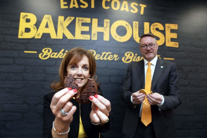 Repro Free: Tuesday, 2nd June 2015: A new Irish biscuit company, East Coast Bakehouse, launched today annoucing a Û15million investment in a new large scale commercial biscuit manufacturing facility on Ireland's east coast in Drogheda and the creation of 100 jobs. Pictured were husband and wife team Michael Carey, CEO, East Coast Bakehouse and Alison Cowser Marketing and Innovation Director East Coast Bakehouse. Picture Jason Clarke Photography.