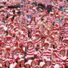 """NO REPRO FEE""18/6/2011.People dressed as Wheres Wally on Merrion Square Dublin help break the world record for the amount of  Wheres Wallys in one place at the same time.They are pictured as part of the Street Performance World Championship taking place in Dublin.They are going to try to break the World Record again today (19/6/2011).Photo:Leon Farrell/Photocall Ireland."