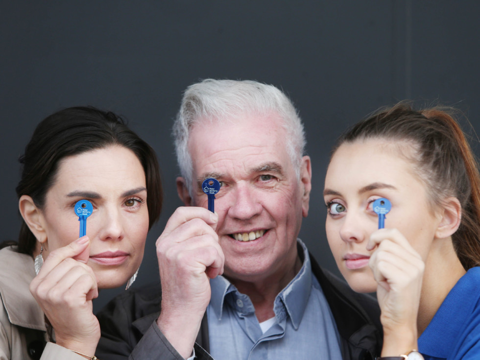 NO REPRO FEE. 5/10/2016. Alison Canavan, Peter McVerry and Ellen O' Gorman hold a key at the launch of the new Peter McVerry Trust ad campaign before at the preview screening of the advert this morning in Odeon Point Village. The ad campaign entitled 'These Little Things' focuses on the importance of keys to each and every one of us. The ad campaign is valued at over 350,000.euro as the Irish creative community donated their time and services to make the ad campaign come to life. The ad will run for 6 weeks in 72 cinemas nationwide from Friday, 7th October. Text Keys4Homes to 50300 to donate 4.euro  to Peter McVerry Trust. Photo: Leon Farrell/Photocall Ireland.