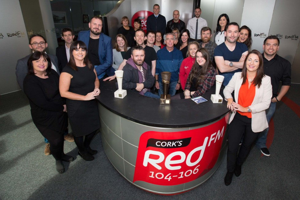 DKANE 10102016 REPRO FREE Cork's Red FM crew in their studios. Cork's Red FM are celebrating after completing the Treble at this year's PPI Radio Awards including the prestigious Music Station of the Year. The ceremony which is the highlight of the Radio calendar each year was held on Friday night at the Lyrath Estate in Kilkenny. Comedian and radio DJ Dermot Whelan presented the Awards which were attended by over 700 guests from all over Ireland. In addition to winning Music Station of the year Cork's Red FM also went home with Best Breakfast Programme for the KC Show and Best Interactive Speech Programme for the Neil Prendeville Show. Pic Darragh Kane