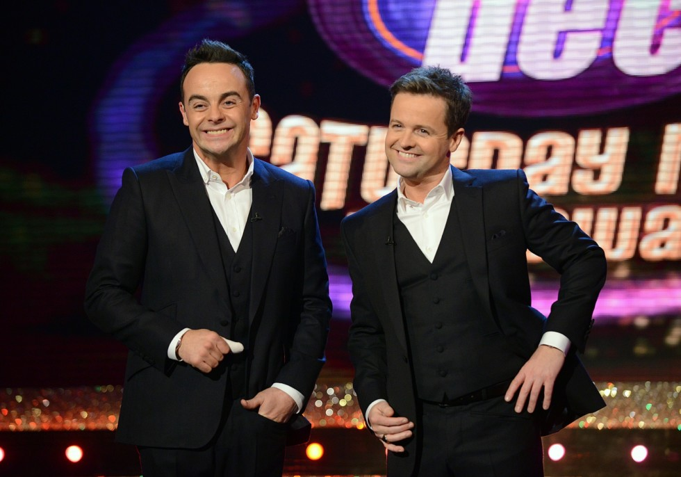 Ant & DecÕs Saturday Night Takeaway is an ITV Studios production for ITVANT & DEC'S SATURDAY NIGHT TAKEAWAY on Saturday 22 February 2014Picture shows: Ant & DecAward winning hosts Ant & Dec are back with their hugely popular entertainment series Ant & DecÕs Saturday Night Takeaway.The only series on TV that says ÔDonÕt just watch the ads Ð win them!Õ returns to the our screens with a host of brand new stunts, surprises and shocks for the studio audience and viewers at home.ÔAÕ list superstars will also be joining the fun live in the studio, but not even the biggest stars are safe as the Geordie duo lead some of their most ambitious celebrity set-ups.This series sees Ant & Dec attempt their most difficult Undercover to date, tricking close friend and fellow TV host Holly Willoughby.  Whilst This MorningÕs Eamonn Holmes and Ruth Langford take Ant & DecÕs lead in a brand new IÕm A Celebrity Get OutÉof Me Ear!Ashley Roberts will be back to challenge the pair to the ultimate duel in Ant V Dec, and whilst Little Ant and Dec may have already rubbed shoulders with Gerard Butler, Mila Kunis and Bruce Forsyth, this series will see them spring more cheeky questions on their new celebrity chums.One lucky member of the studio audience will also be given the chance to play for the contents of a commercial break in Win the Ads, with spectacular prizes including cars and holidays on offer.Each show will end in spectacular style as some of the world's biggest and best performers grace the Takeaway stage for a one-off performance that will come with its own unique surprise - you won't want to miss them!Last series saw Ant & Dec scale a 50ft tower, trick the worldÕs biggest boyband One Direction with their Undercover guises, join Spelbound for a special one off performance and top the UK charts with ÔLets Get Ready To RumbleÕ. Press contact: Sarah Banbury on 0207 157 3018 sarah.banbury@itv.comPicture contact: Shane Chapman on 020 7157 3043