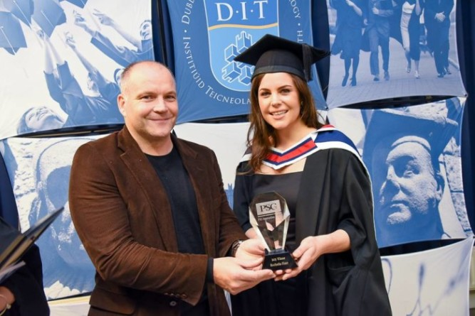 Pictured is PSG Communications CEO Mick O'Keeffe with 'PSG Innovation Award' winner Rochelle Flett, recent graduate of the DIT Masters in Public Relations.