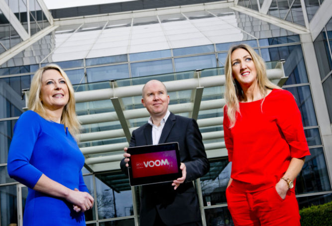 Business 22032016. No Repro Fee. Virgin Media Business launches VOOM 2016, a 1.2million euro pitch competition with Richard Branson. Virgin Media Business today launches its search for the most innovative and exciting businesses with Ireland and the UKÕs biggest and most valuable pitch competition Ð ÔVOOM 2016Õ.Ê The competition, run by the ultrafast business broadband company, gives entrepreneurs and small and medium-sized businesses the opportunity to pitch their ideas to Sir Richard Branson to win a slice of a prize fund worth over 1.2million euro. Speaking about the launch Sir Richard Branson, Virgin Group Founder, said: Virgin Media BusinessÕs ÔVOOM 2016Õ provides the golden ticket to propel your business onto a global stage and fast-track your way to success. Launching a new business or going it alone takes dedication and determination, if youÕve got that in spades then grab this life-changing opportunity and enter today.Ó Pictured at the launch were (l-r) Sarita Johnston, Manager of Female Entrepreneurship for Enterprise Ireland, Gavan Smyth, Vice President of Virgin Media Business Ireland and Joan Mulvihill, CEO of The Irish Internet Association. Photo Chris Bellew / Fennell Photography.