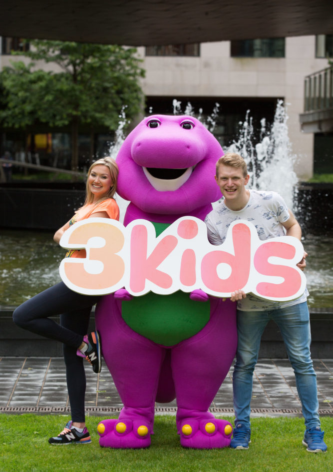NO FEE FOR 1ST REPRO Barney and Friends were at 'Imaginosity: Dublin's Children's Museum' in Dublin today to launch 3e's new children's TV strand '3Kids'. 3Kids, which will broadcast from Monday 27th June, will feature some all-time kids favourites like; Barney & Friends; The Wiggles; Teletubbies; Origanimals; Babar and Badou and lots more. Aimed at children aged 3-5 years, 3Kids will air seven days a week on 3e, from 7am – 10am. Front and centre of 3e's new children's TV strand are two new faces; presenters Claire Flynn and Ollie Kelly. Following a casting process the pair were chosen to front the stations new fun filled mornings as visual continuity presenters. Don't miss 3Kids on 3e – starting 7am Monday 27th June. PIC Paul Sharp/SHARPPIX