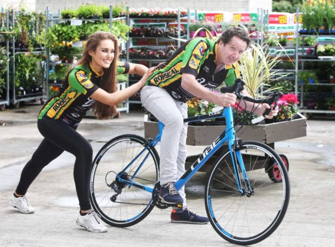 NO REPRO FEE. 3/7/2016. Rozanna Purcell and Diarmaid Gavin are pictured at the launch of Woodie's Heroes campaign. The charity drive hopes to raise 200,000.euro in the month of August for Make a Wish Ireland, Temple Street Children's Hospital, Jack and Jill and Irish Autism Action. Woodie's Heroes will culminate in an all-Ireland cycle ride on August 26th, where two cycling teams will travel 1,500km over five days to collect fundraising cheques from each of Woodie's 36 stores nationwide. For further information on Woodie's Heroes visit www.facebook.com/WoodiesIE or join the conversation on twitter @WoodiesIreland #WoodiesHeroes. Photo: Leon Farrell/Photocall Ireland.