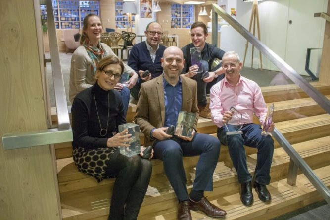 REPRO FREE December 2016, London – Tourism Ireland has scooped more than 20 awards and accolades for its 2016 Game of Thrones campaign. PIC SHOWS: (front, l-r) Elmagh Killeen, Mark Henry and Brian Twomey, all Tourism Ireland; (back, l-r) Rochelle Parry, Dave O'Sullivan and Ben McKee, all Publicis, with some of the 20+ awards for Tourism Ireland's Game of Thrones campaign. Pic – Tourism Ireland (no repro fee) Further press info – Clair Balmer, Tourism Ireland 07766 527719